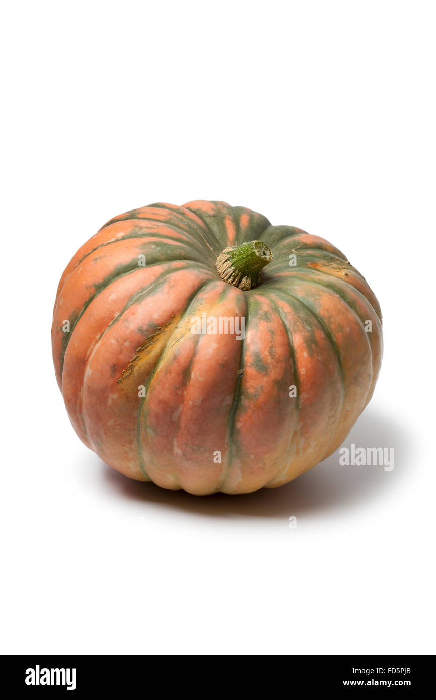 Whole Speckled hound pumpkin on white background - Stock Image