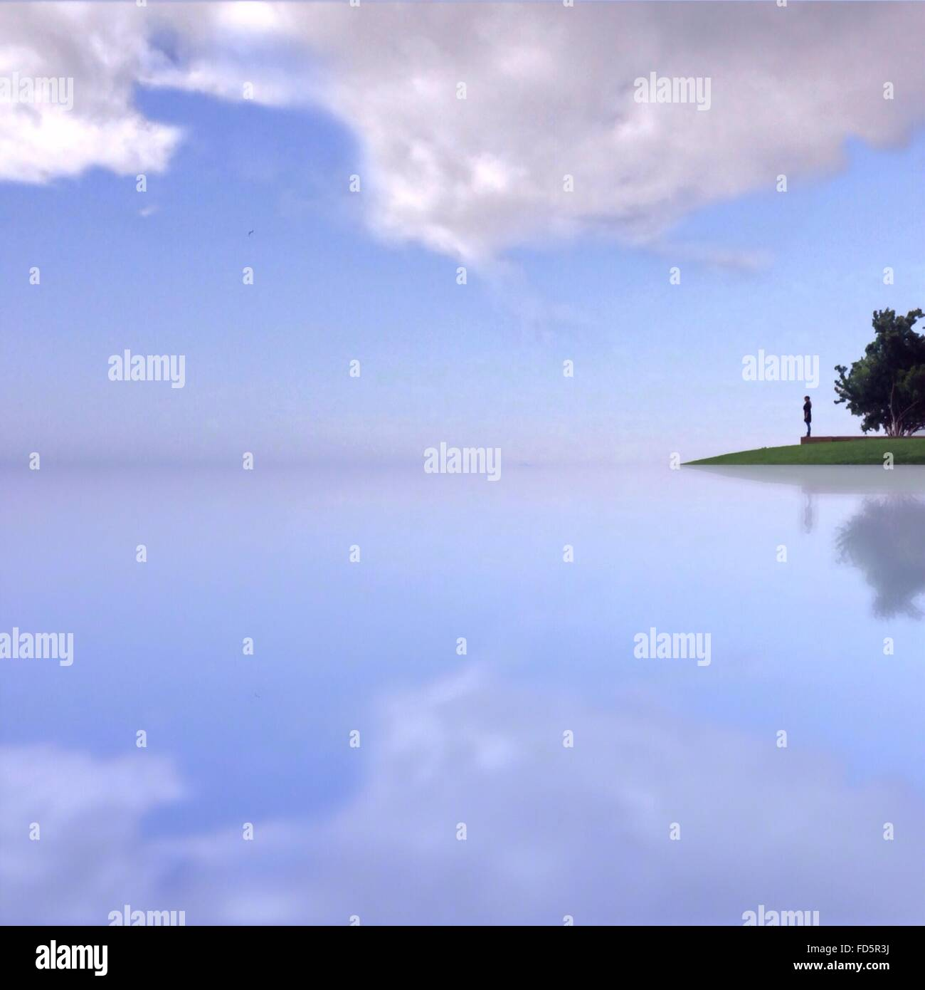 Scenic View Of Calm Lake Against Sky - Stock Image