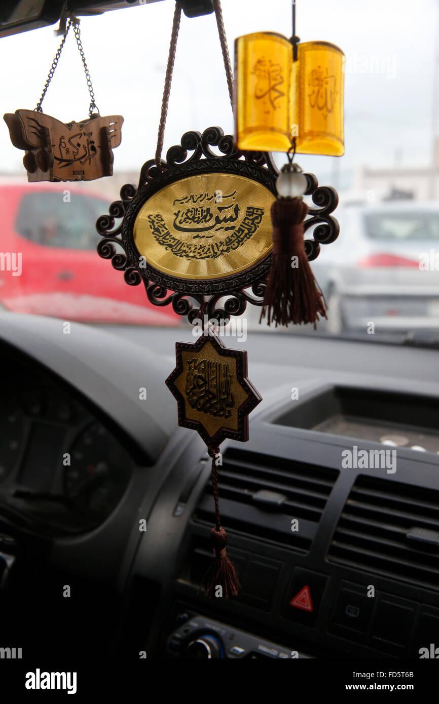Islamic pendants in a tunisian taxi stock photo 94171123 alamy islamic pendants in a tunisian taxi aloadofball Images
