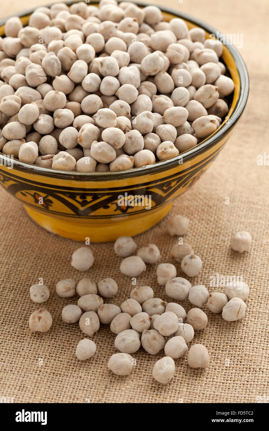 Bowl with Moroccan roasted chickpeas - Stock Image