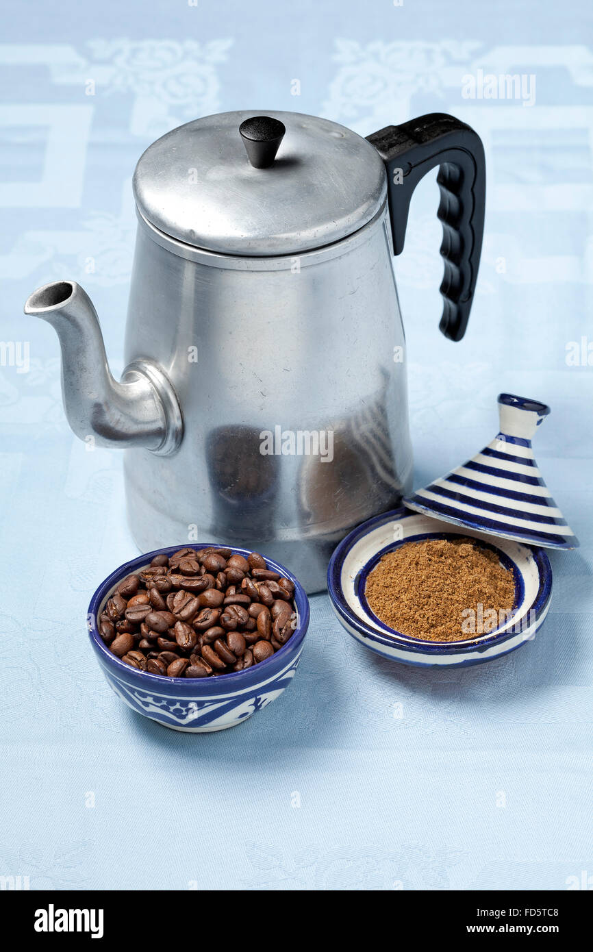Moroccan coffee pot,coffee and spice mix - Stock Image