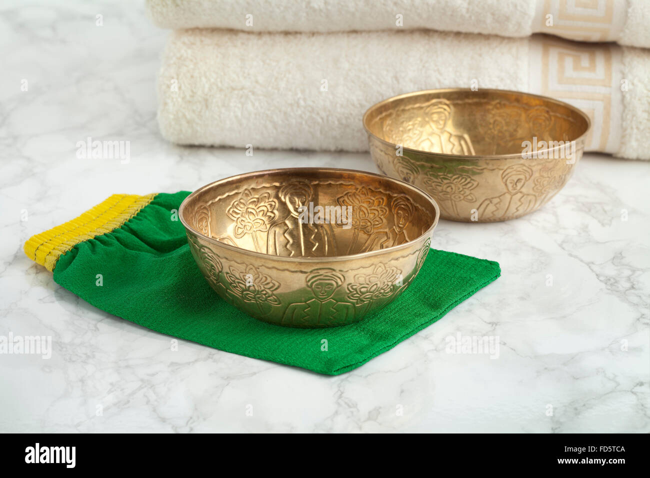 Water cups in the the Hammam to wash and clean the body - Stock Image