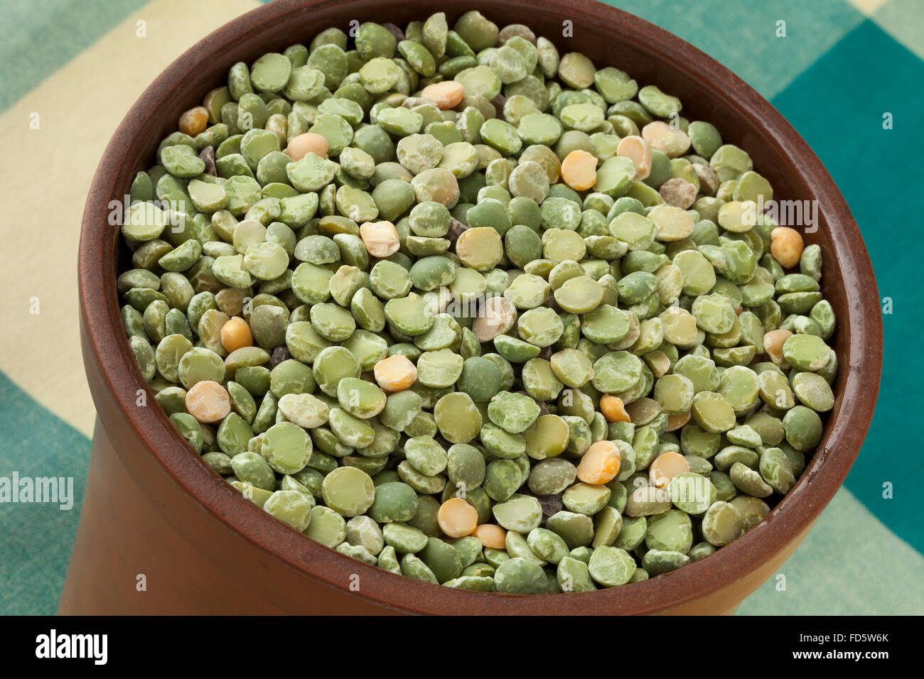 Green split peas in a pot Stock Photo