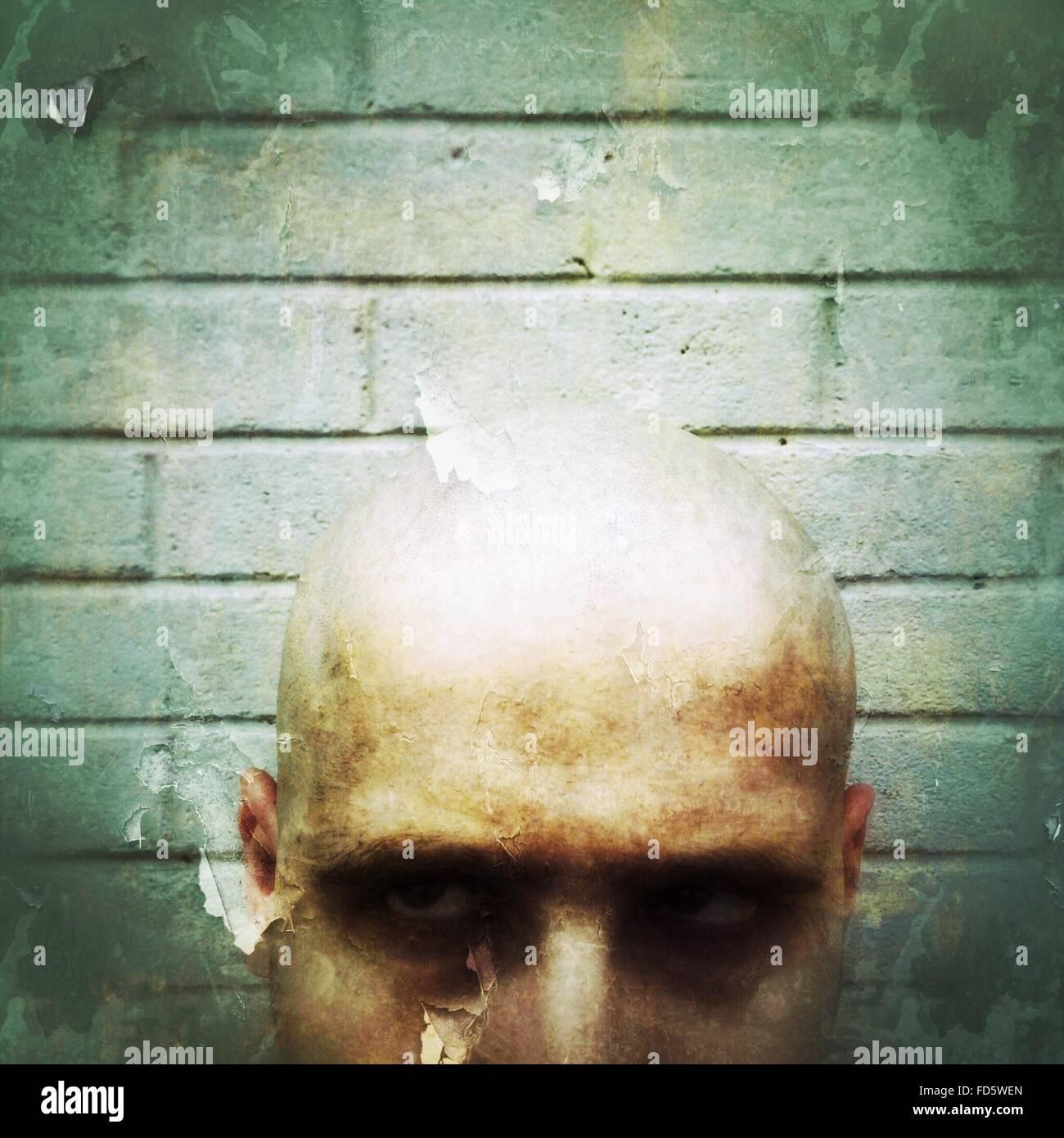 Close Up Of Bald Man - Stock Image