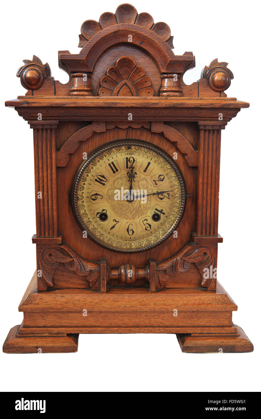 Late 1800's American oak mantle clock by Jerome & Co on a white background - Stock Image