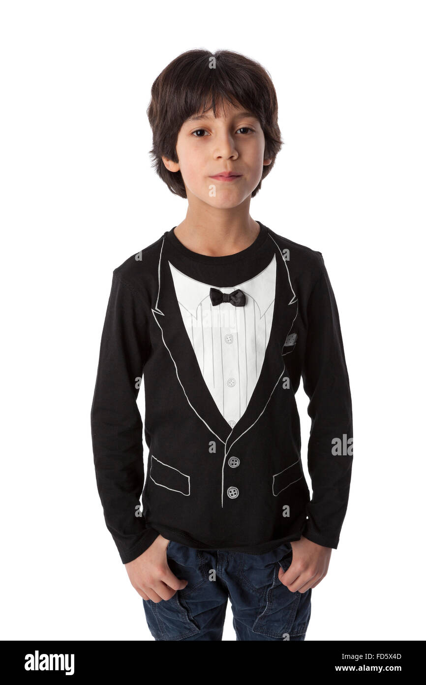 Well dressed eight year old boy on white background - Stock Image