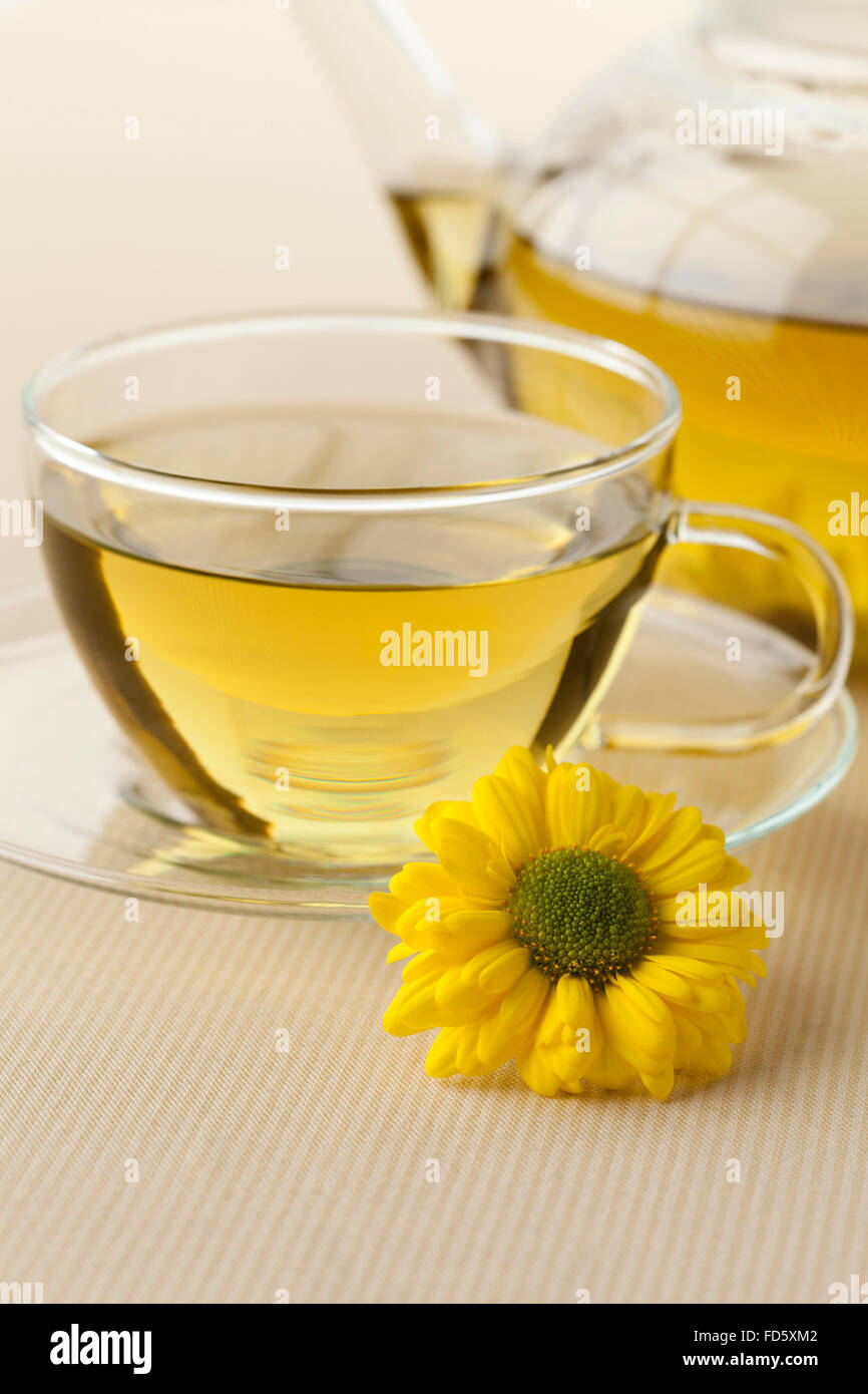 Pot and cup with Chinese Chrysanthemum tea - Stock Image