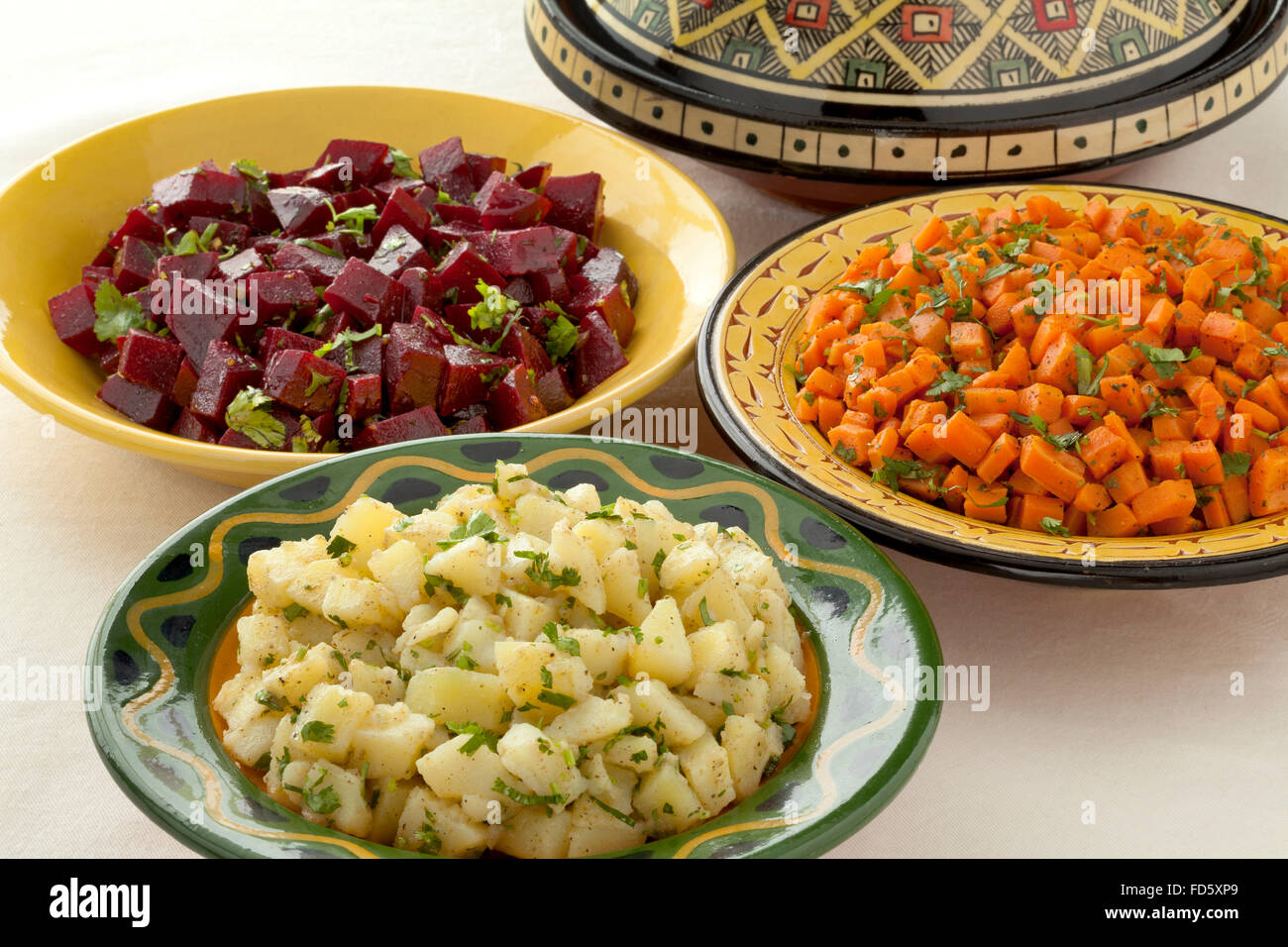 Moroccan diversity of traditional salads on the table - Stock Image