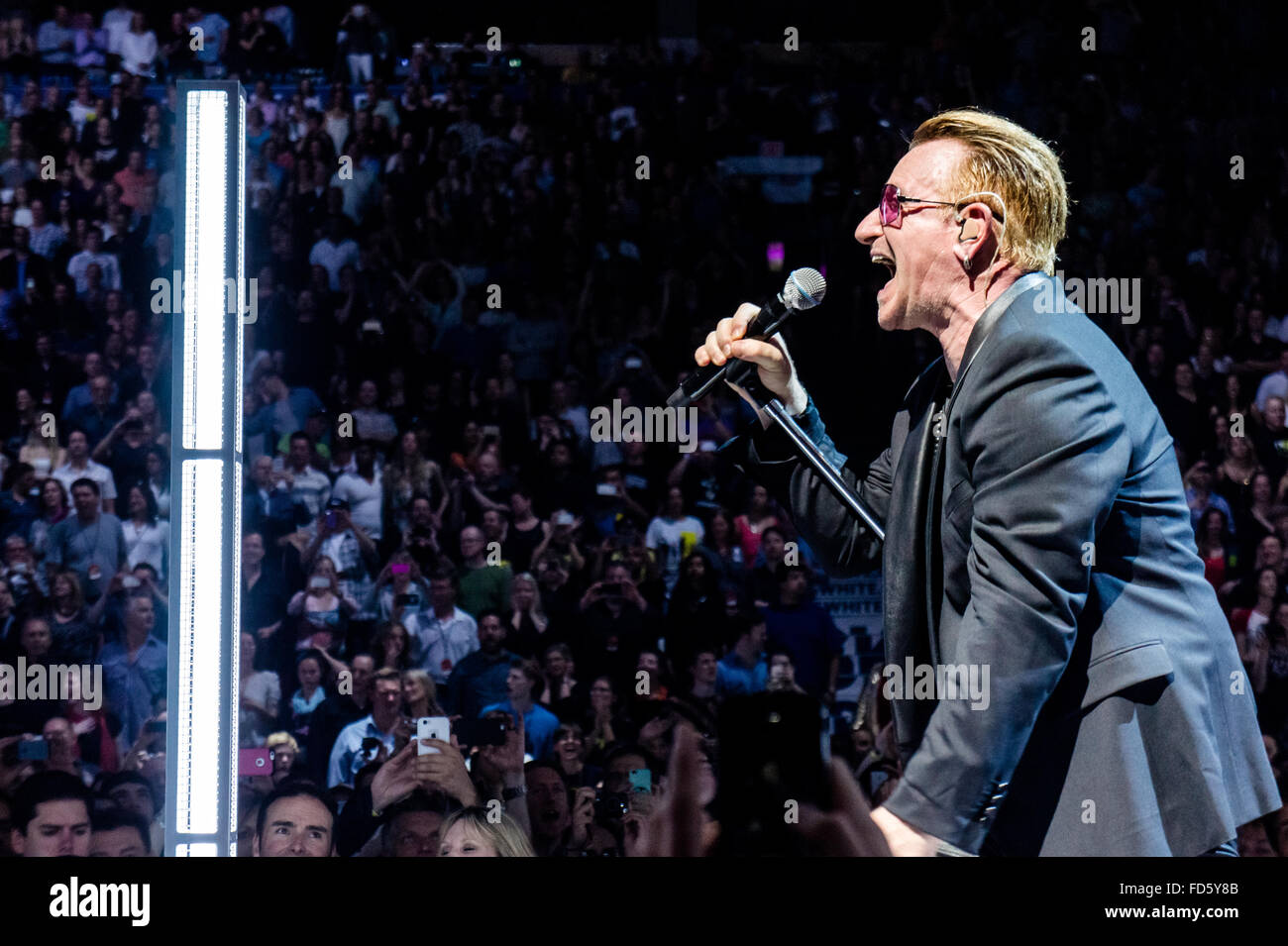 Bono of U2 at Rogers Arena in Vancouver, British Columbia, Canada on May 14th 2015 - Stock Image