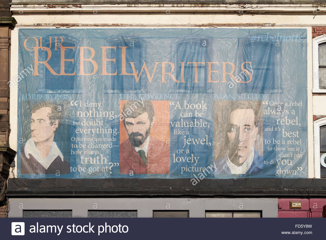 Nottingham, UK, 28 January 2016  Rebel Writers (of Nottingham) banner on Station Street welcoming visitors as they - Stock Image