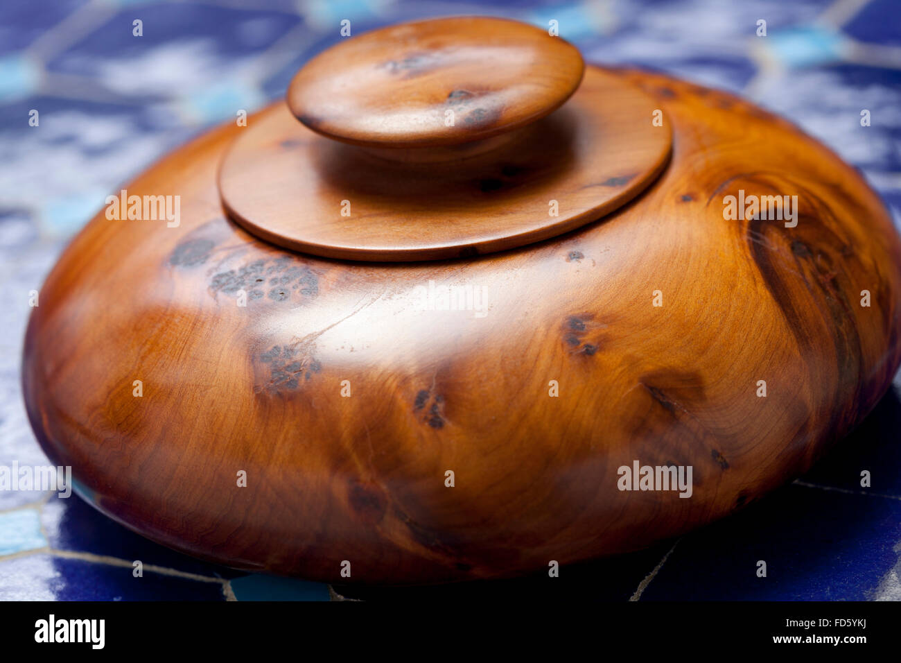 Traditional Thuja wooden box from Essaouira, Morocco - Stock Image