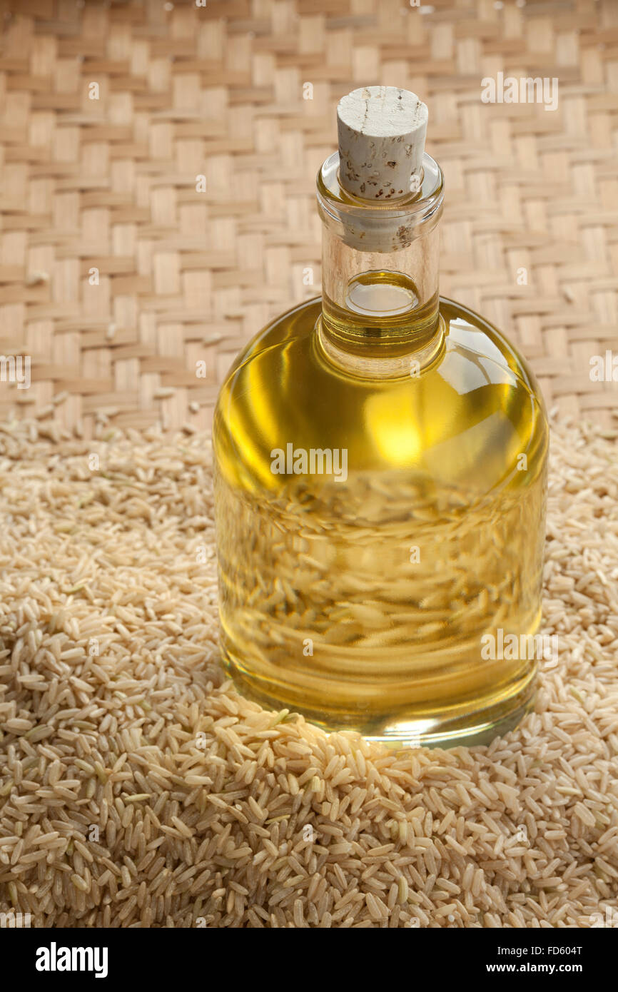 Rice oil in a bottle - Stock Image