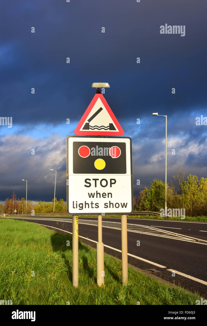 warning sign of Selby swingbridge  crossing the river Ouse ahead Yorkshire united kingdom - Stock Image