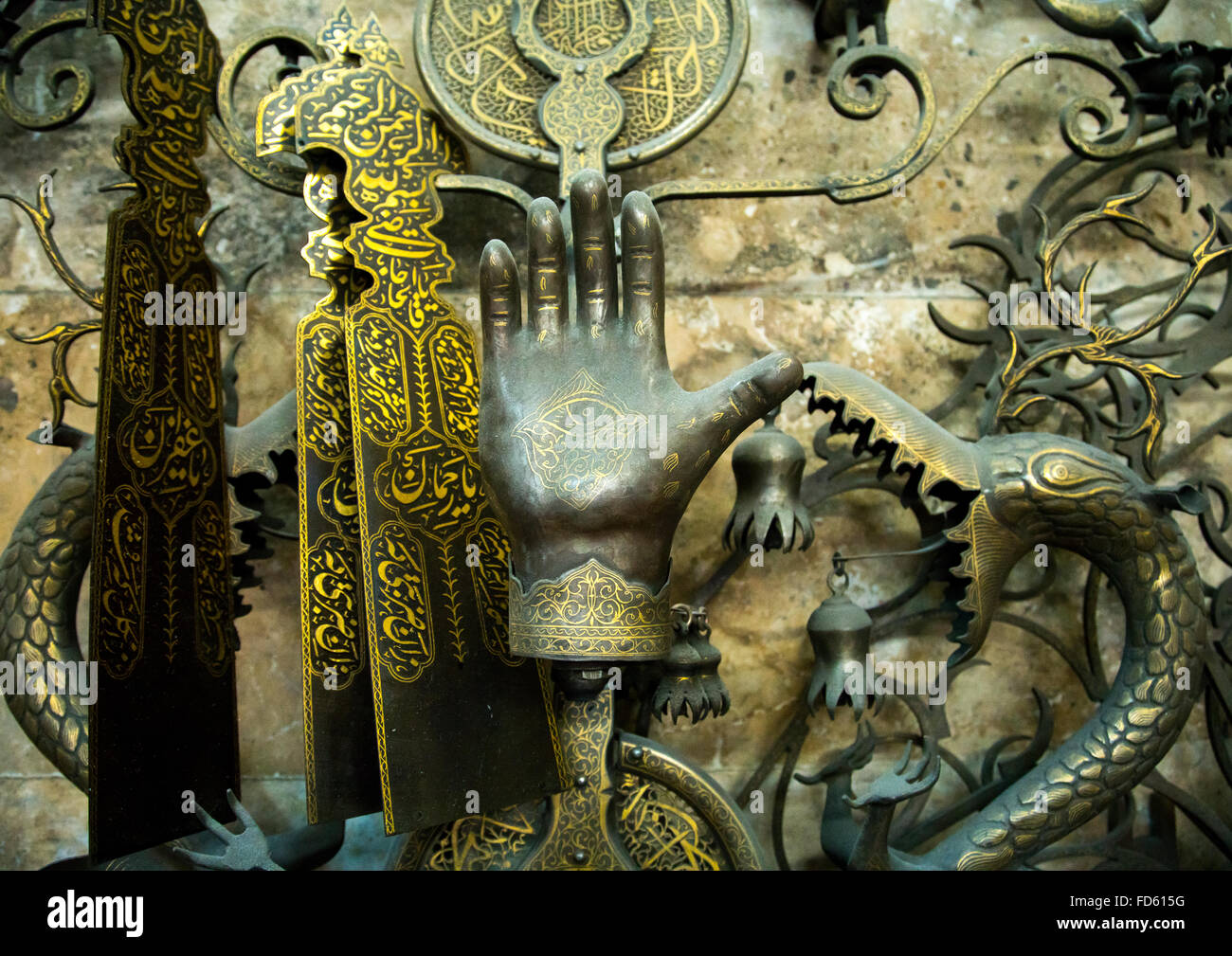 iron hand in master safar fooladgar workshop, Central district, Tehran, Iran - Stock Image
