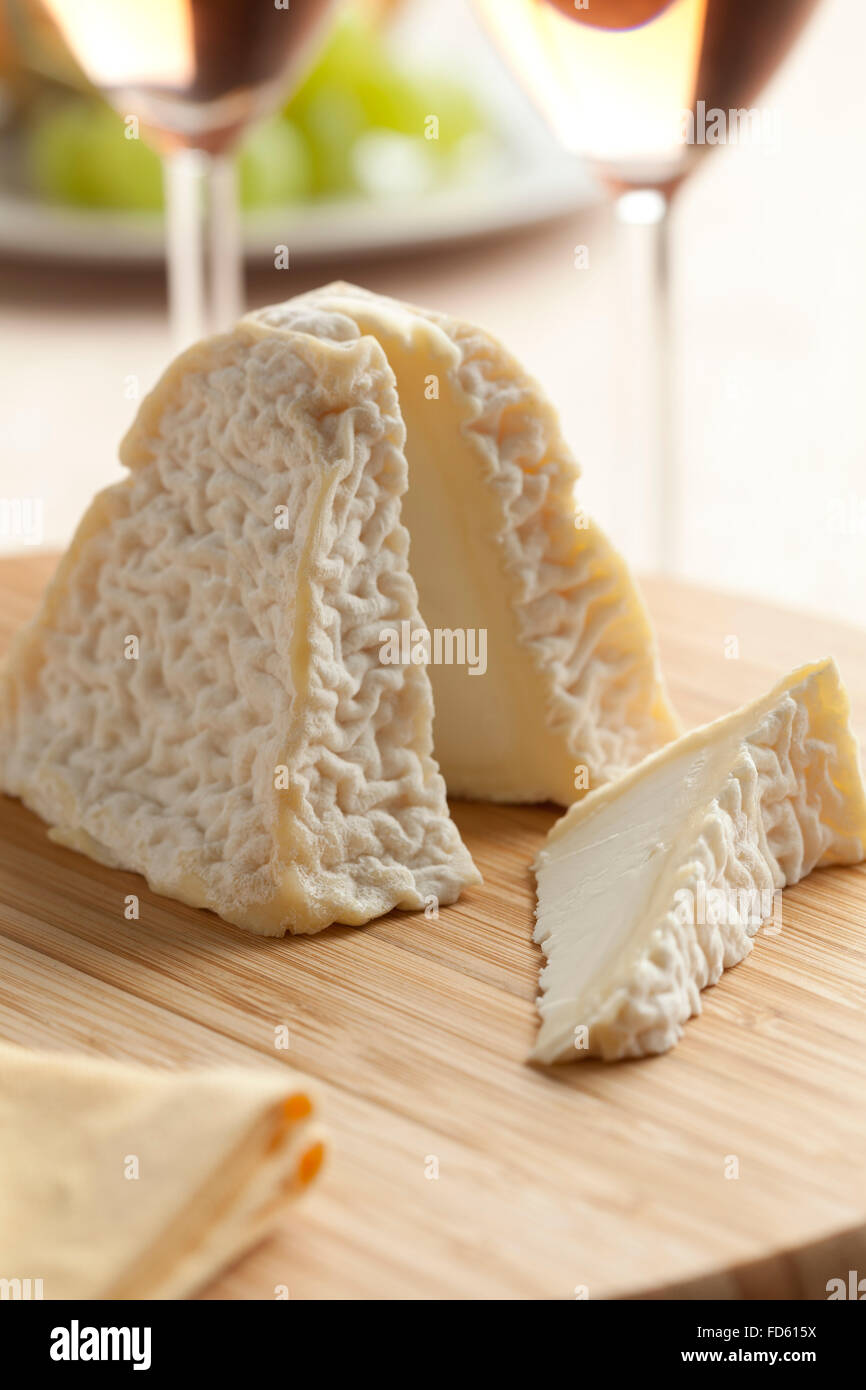 Fresh  Pouligny St. Pierre cheese for dessert Stock Photo