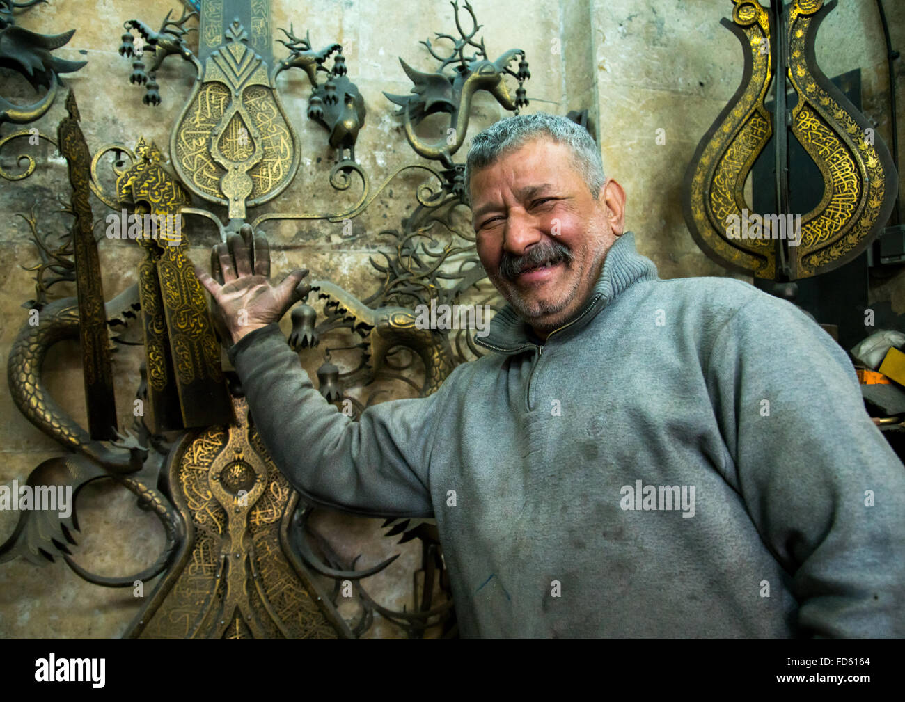 master safar fooladgar creating an alam, Central district, Tehran, Iran - Stock Image