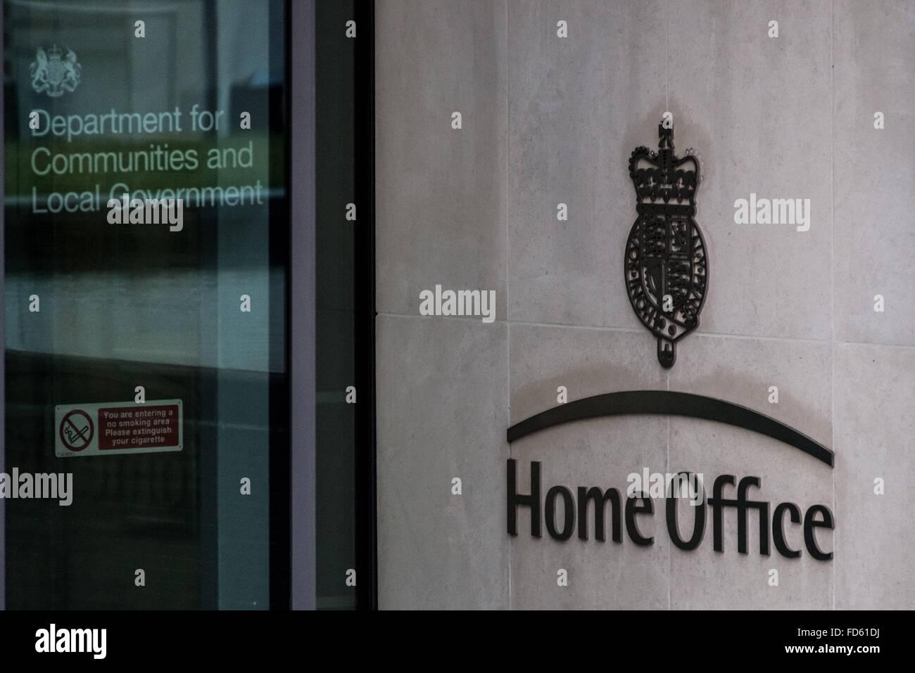London, UK. 28th Jan, 2016. Home Office main door entrance on Marsham Street in central London Credit:  Guy Corbishley/Alamy - Stock Image