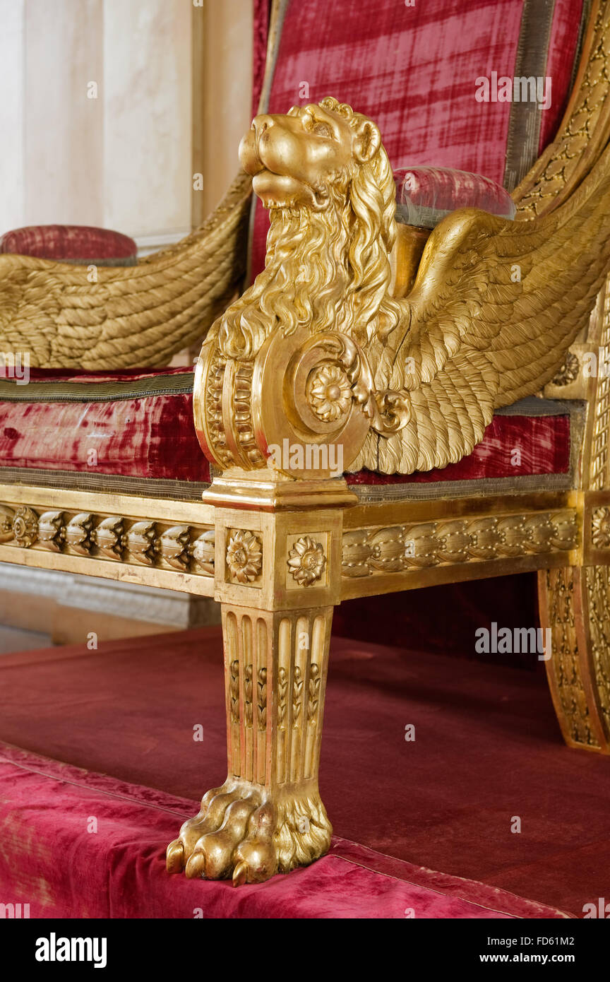 Winged lion on gilded throne in Schloss Fasanerie near Fulda in Germany - Stock Image