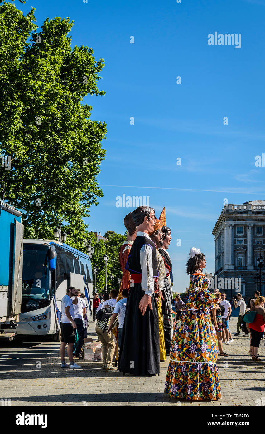 View of a giant models in Orient square, Madrid city, Spain - Stock Image