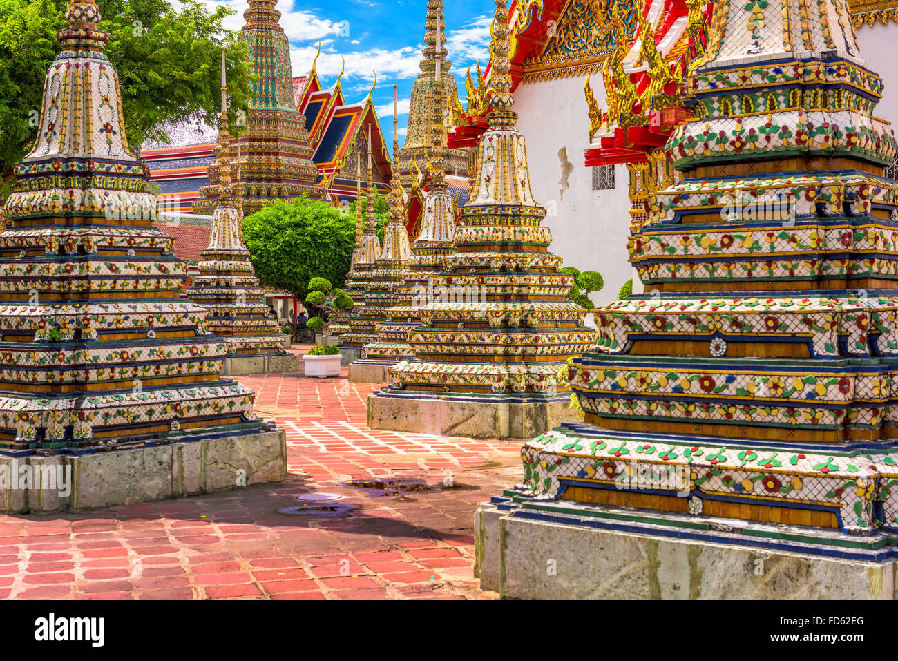 Wat Pho Temple grounds in Bangkok, Thailand. - Stock Image