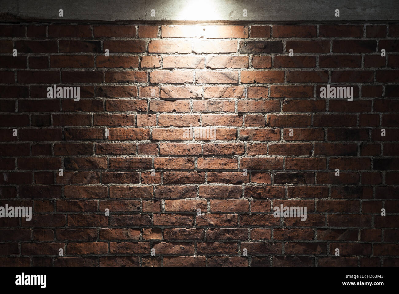 Grungy Dark Red Brick Wall With Spotlight Background Photo Texture