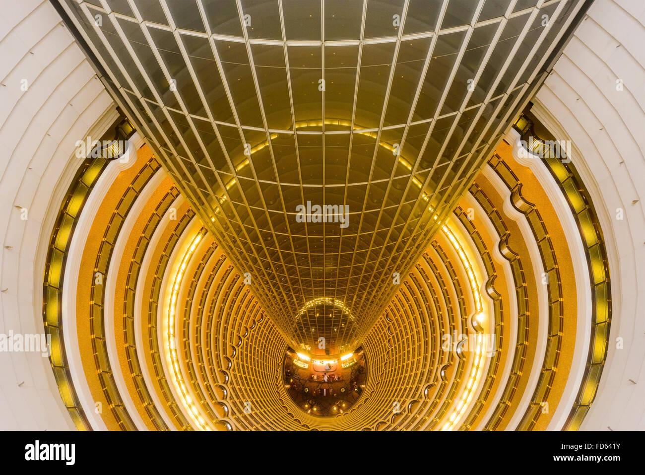 The Grand Hyatt Shanghai viewed from atop the atrium in Shanghai, China. - Stock Image