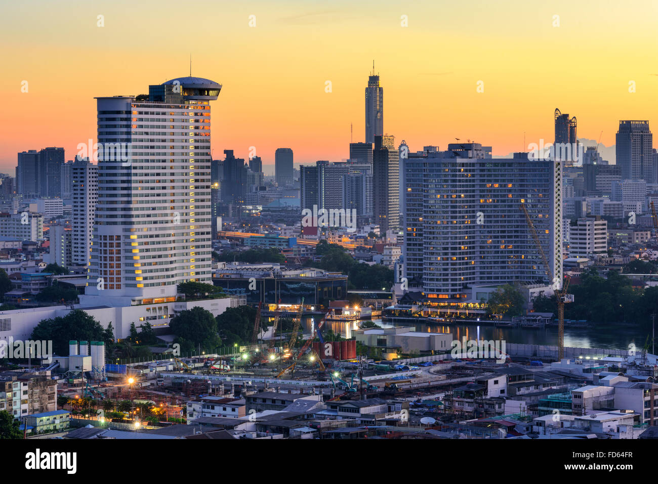 Bangkok, Thailand skyline on the Chao Phraya River. Stock Photo