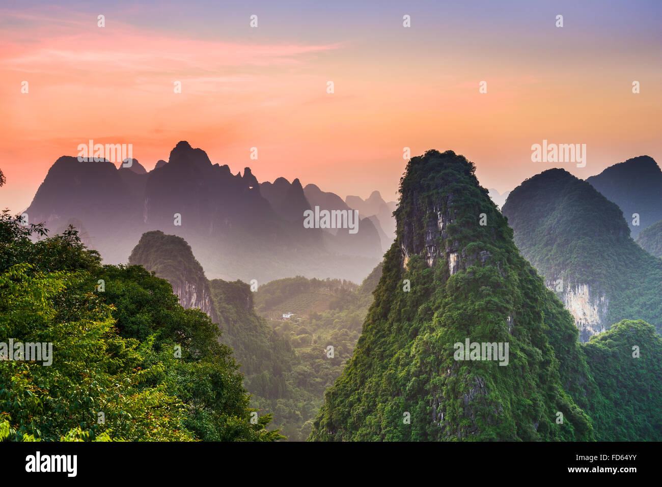 Karst Mountains of Xingping, Guilin, China. - Stock Image
