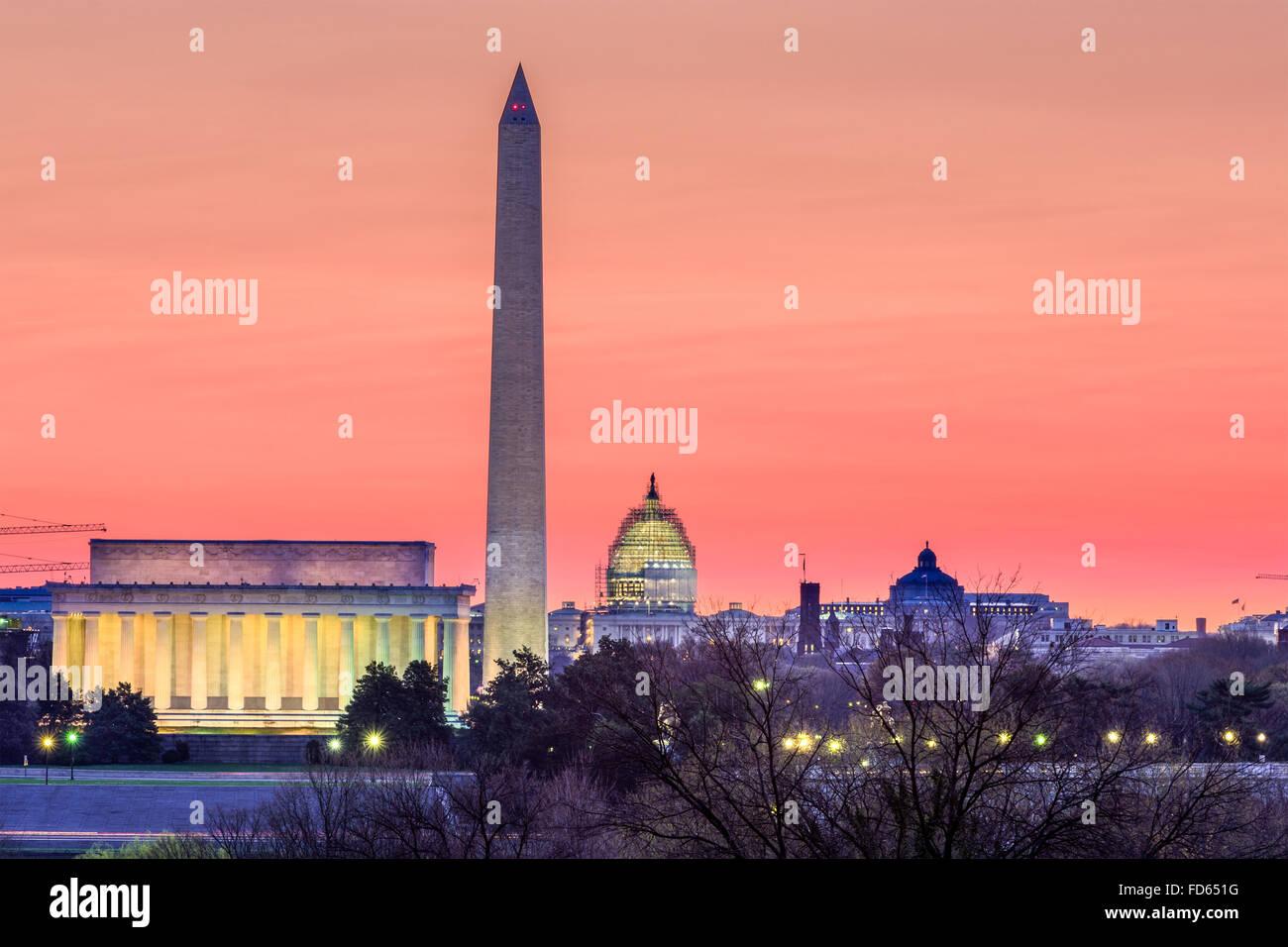 Washington DC, USA skyline. - Stock Image