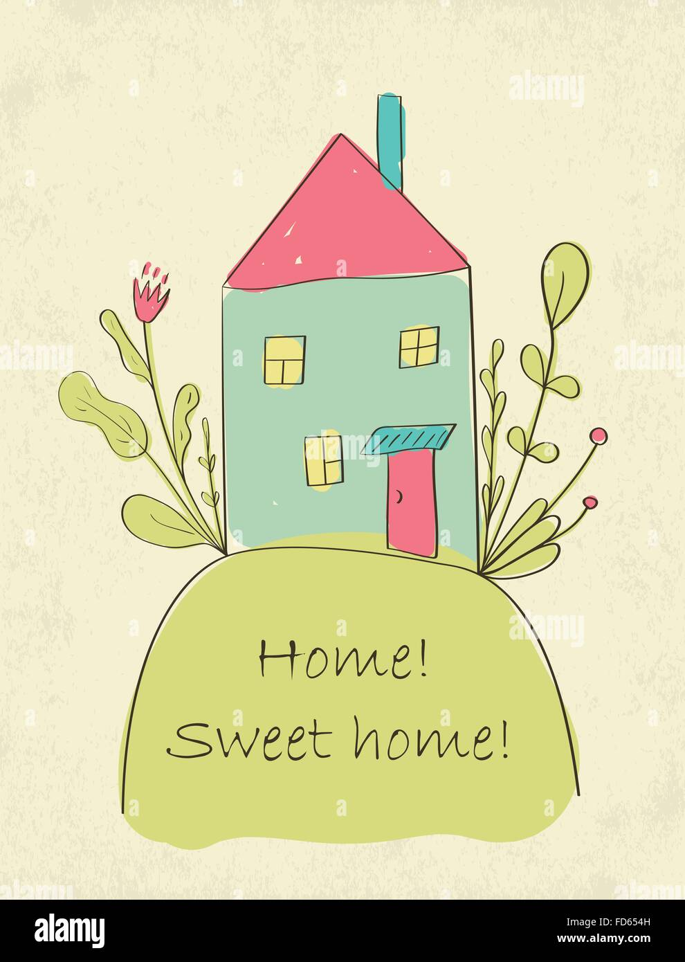 Hand drawn cute Home sweet home card. Vector illustration - Stock Vector
