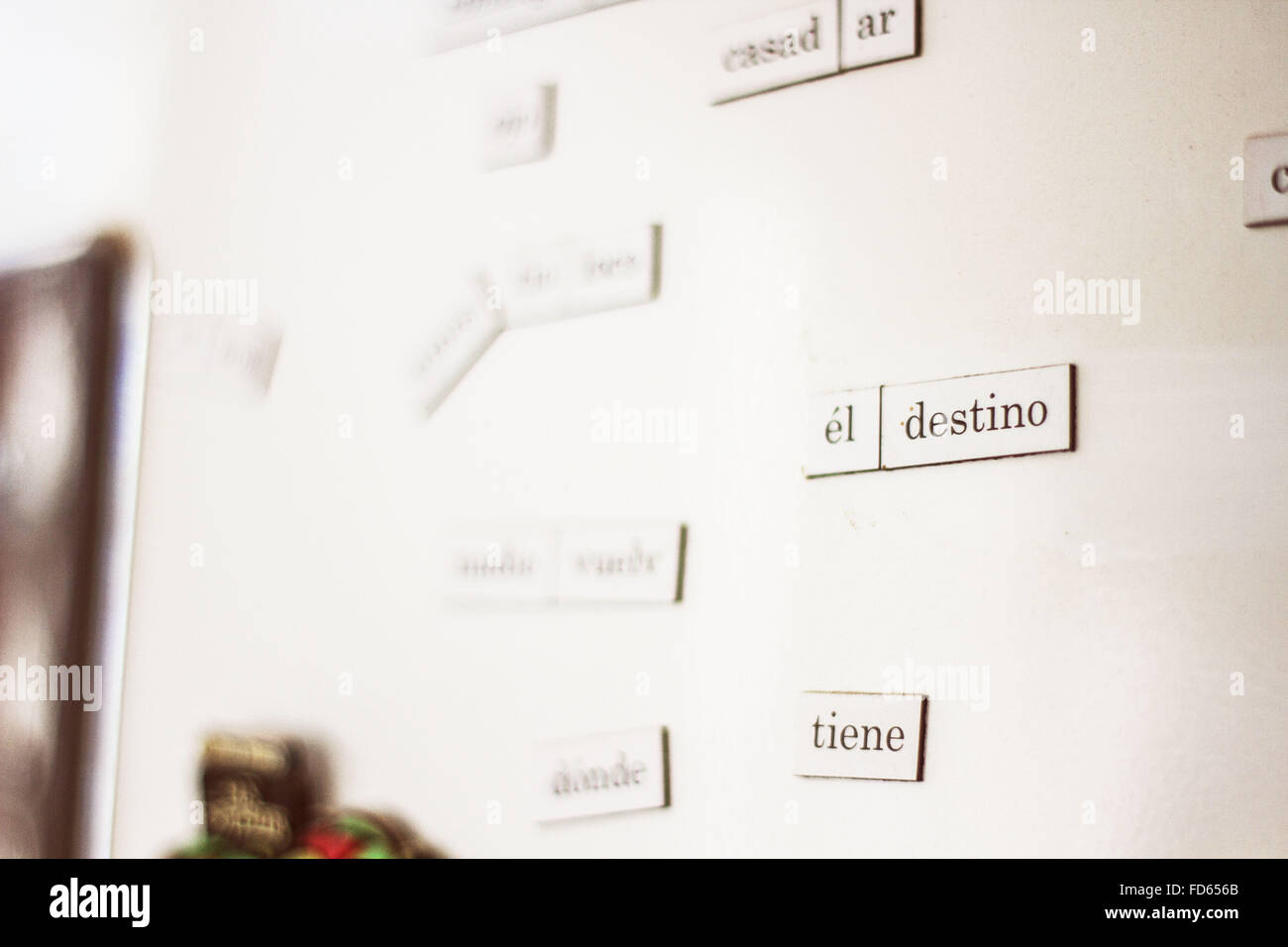 Nameplates With Spanish Words On Wall - Stock Image