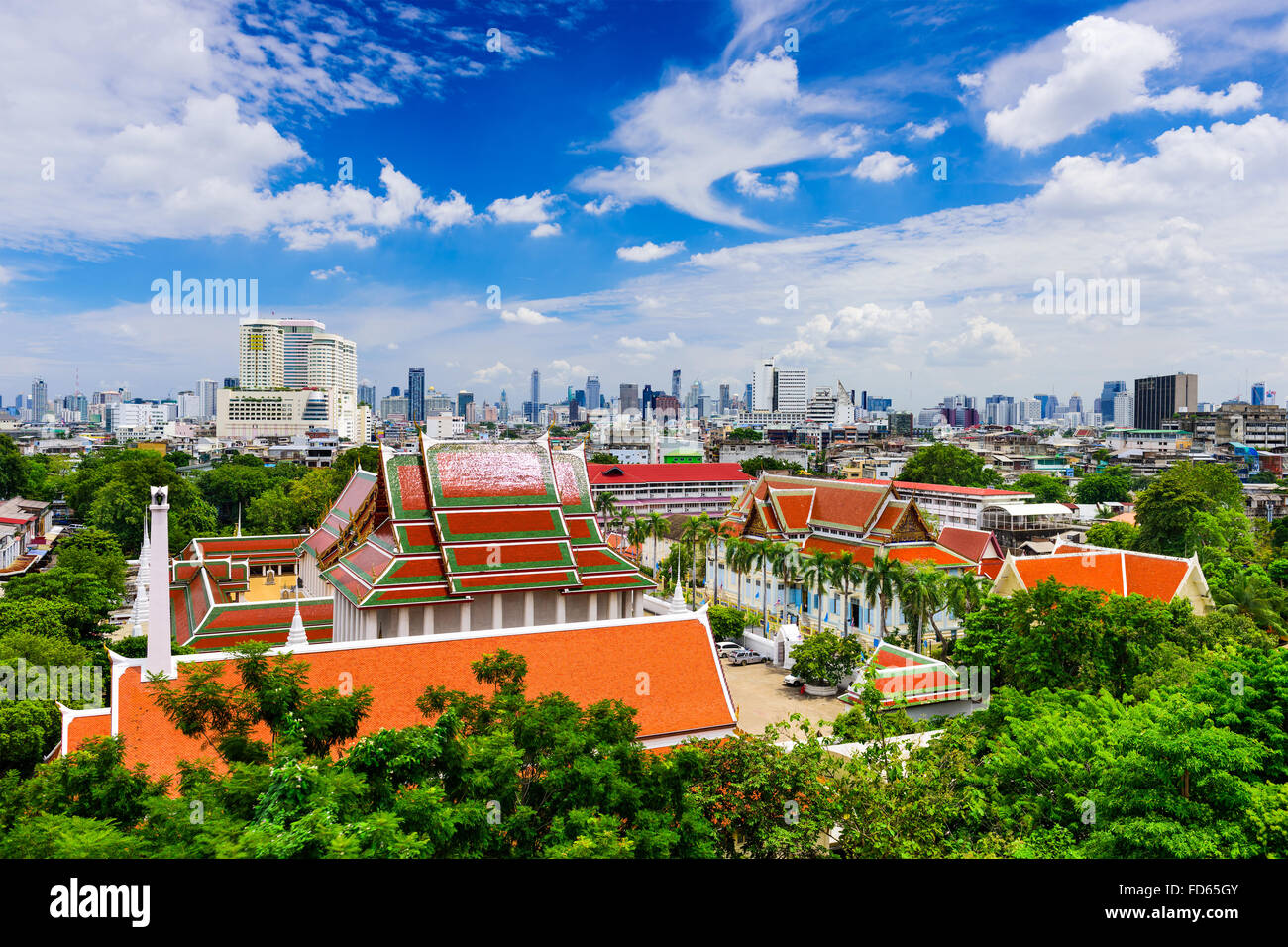 Bangkok, Thailand skyline over Wat Saket Temple buildings. - Stock Image