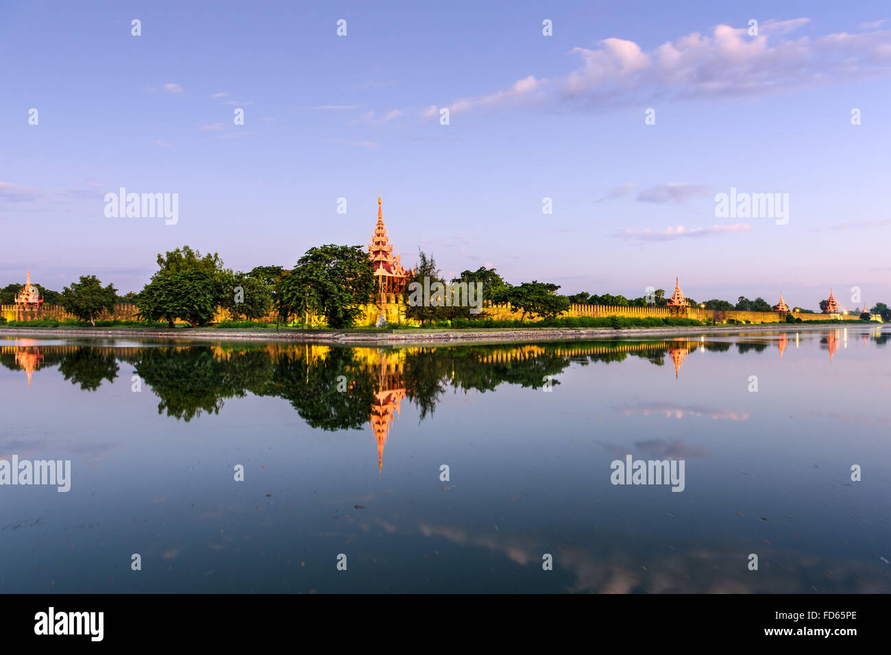 Mandalay, Myanmar at the castle moat. - Stock Image