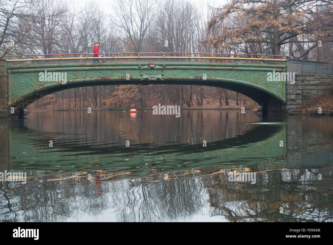 Prospect park Brooklyn Lullwater bridge Stock Photo
