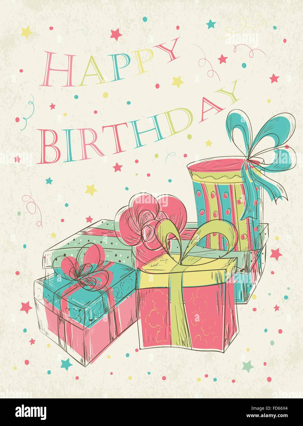 Happy Birthday Card With Hand Drawn Gift Boxes Vector Illustration