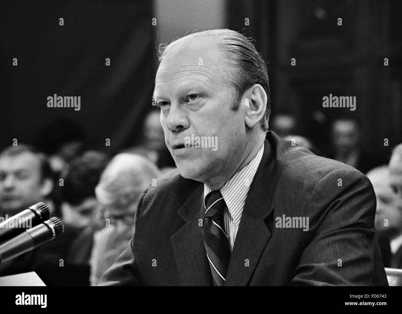 Gerald Ford. President Gerald Ford appearing at the House Judiciary Subcommittee hearing on pardoning former President - Stock Image