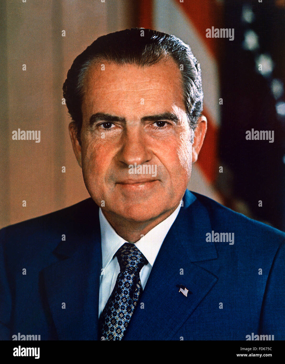 Richard Nixon, portrait of the  the 37th President of the USA - Stock Image