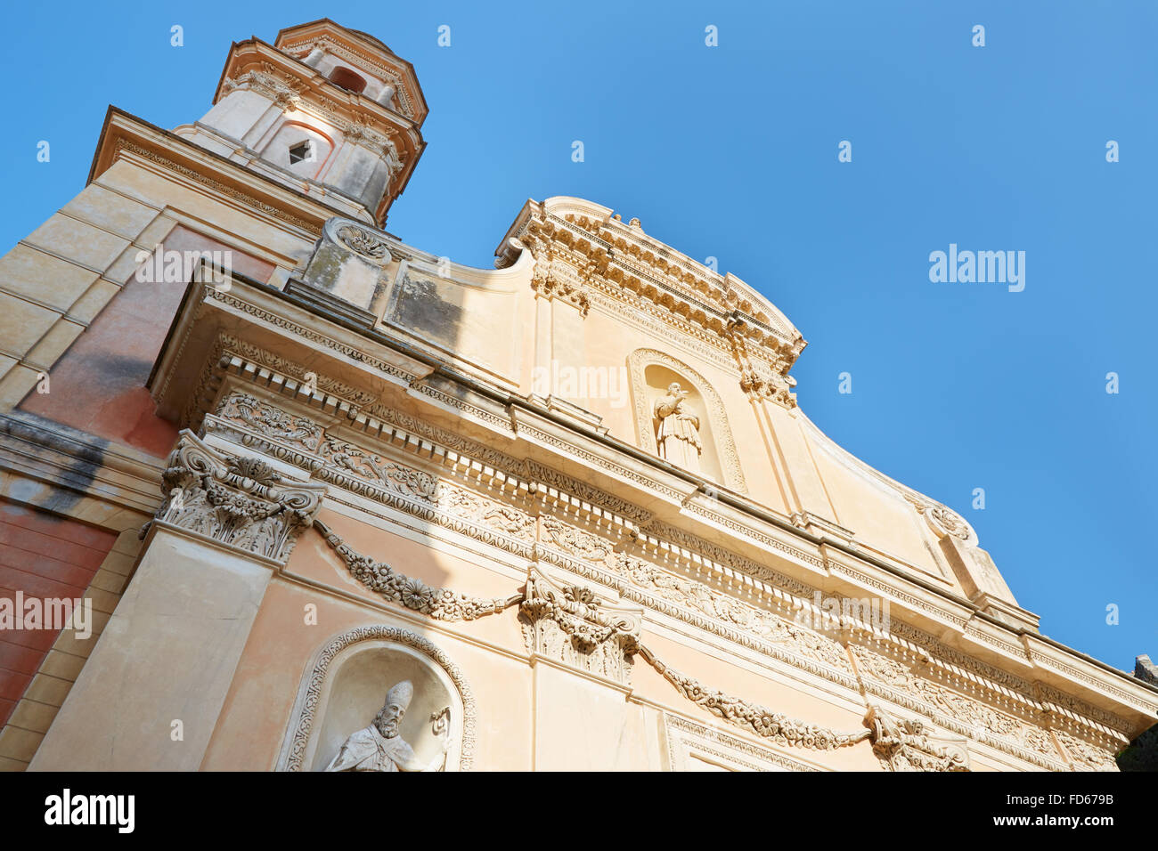 Menton, Penitents Blancs church with blue sky, France - Stock Image