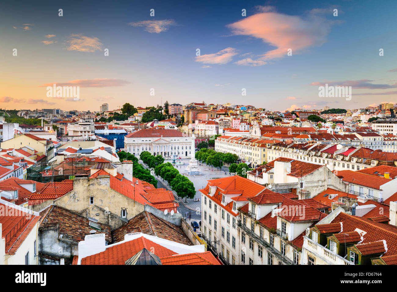 Lisbon, Portugal skyline view over Rossio Square. - Stock Image