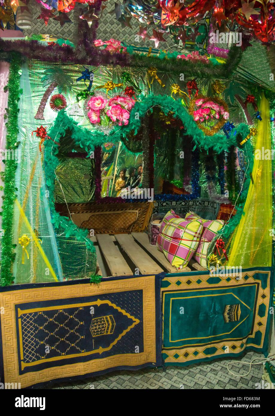 bride and groom room for a wedding, Qeshm Island, Salakh, Iran - Stock Image