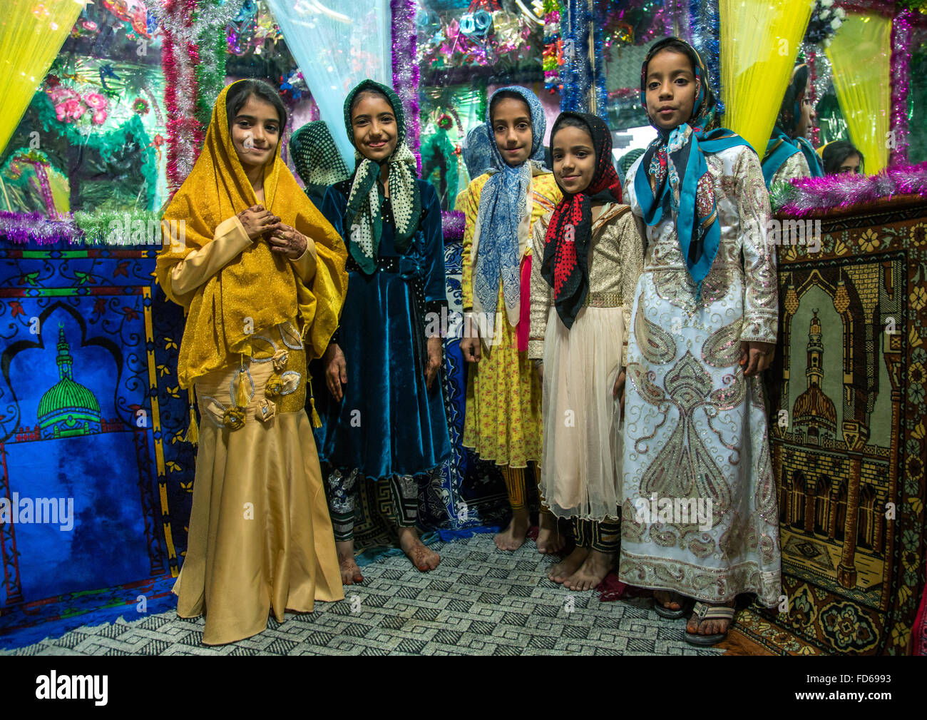 girls inside the bride and groom room for a wedding, Qeshm Island, Salakh, Iran - Stock Image
