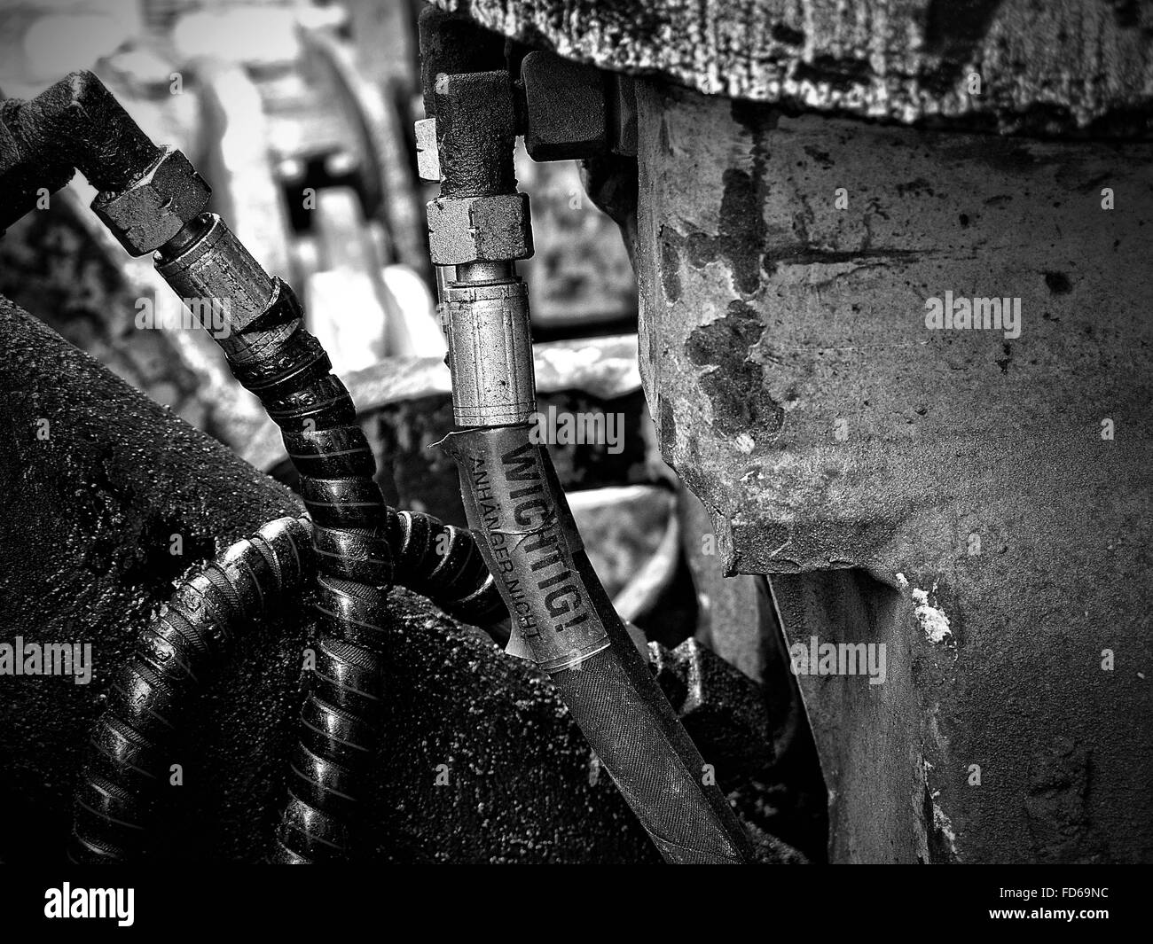 Close-Up Of Pipes Attached On Wall - Stock Image