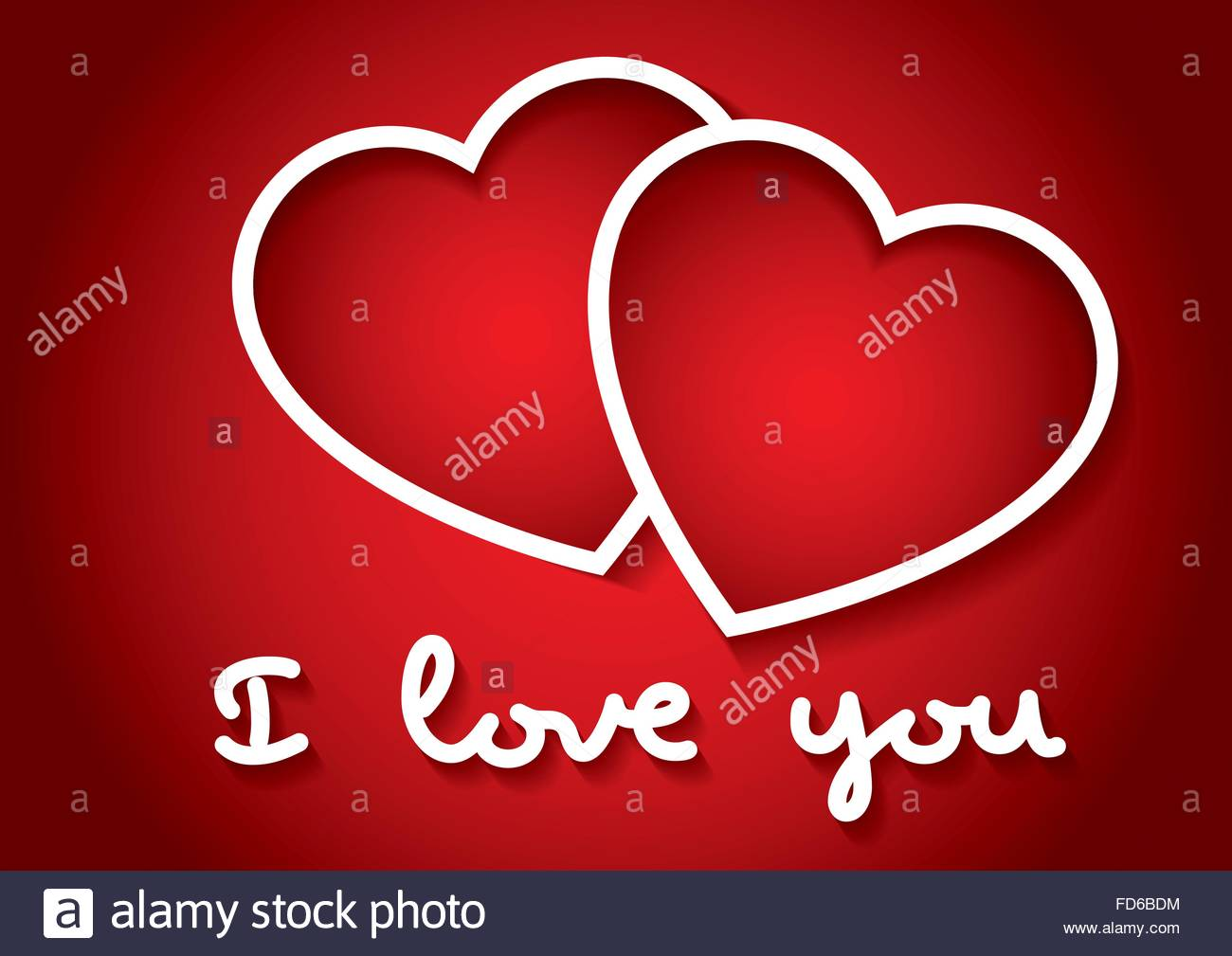 I love you words with two hearts in red. Valentines day