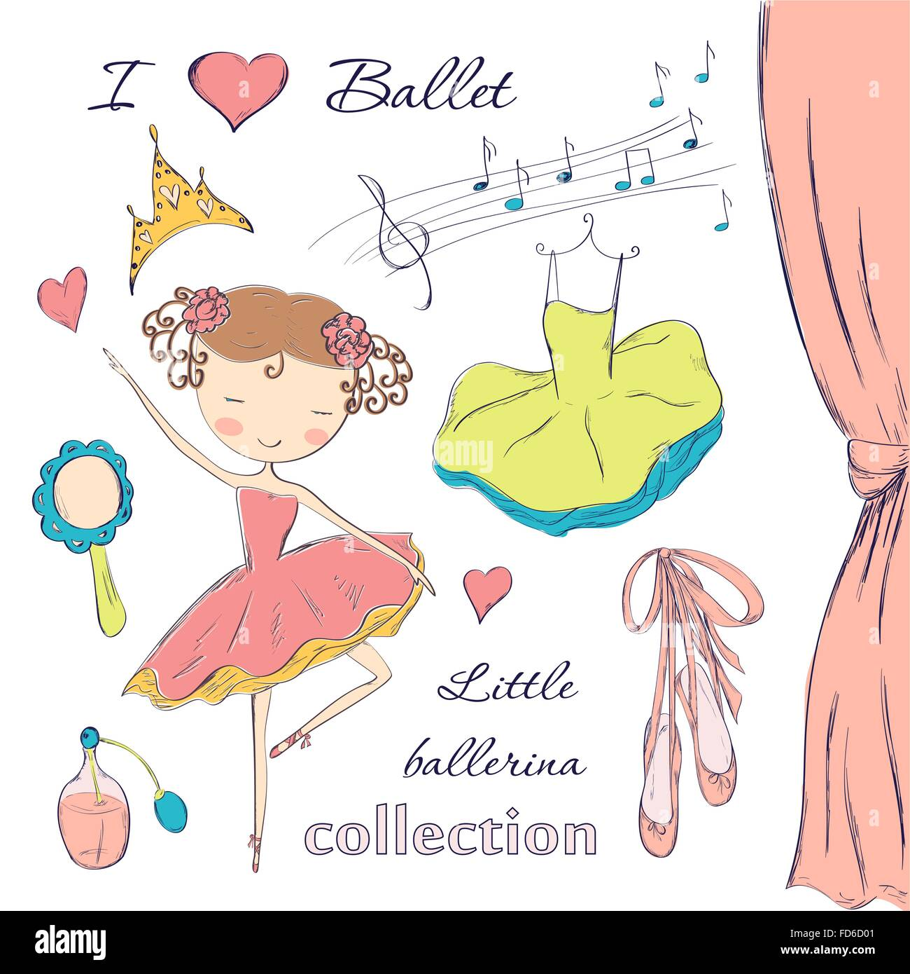 hand drawn ballerina and accessories doodle design elements set on