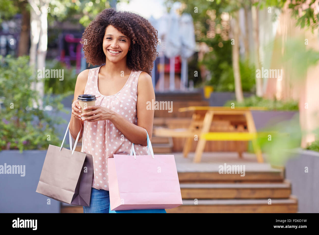 She's an avid shopper Stock Photo