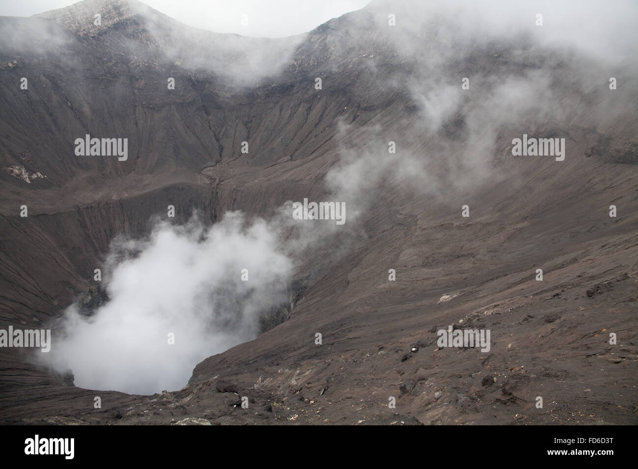 Smoke Coming Out Of Crater - Stock Image