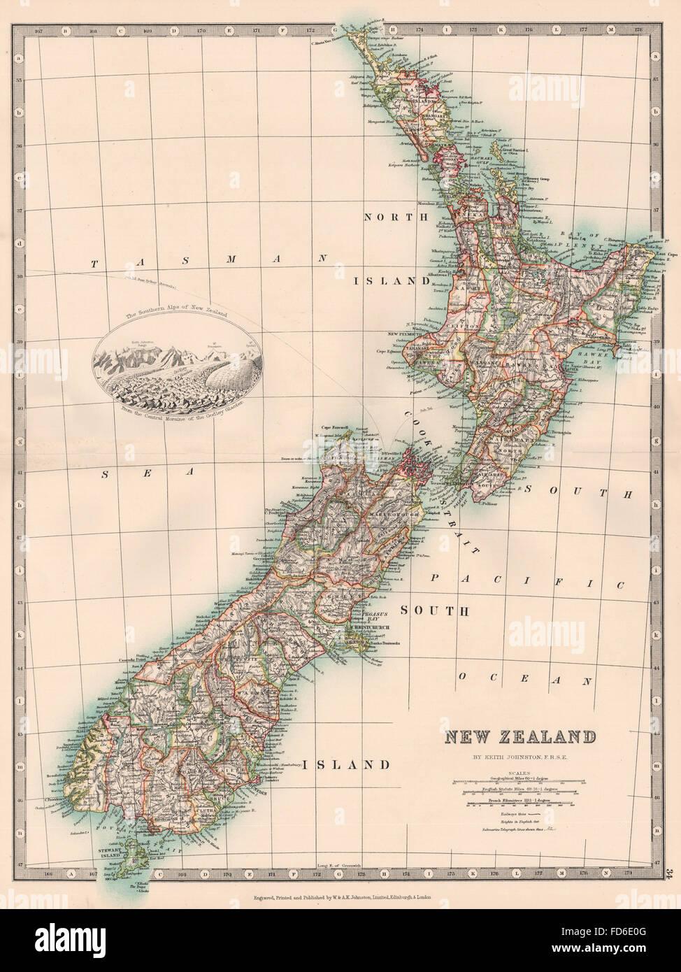 Southern Alps New Zealand Map.New Zealand Southern Alps Godley Glacier Vignette Stock Photo