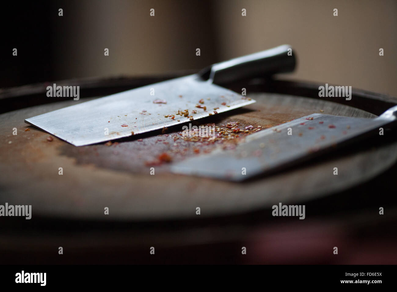Close-Up Of Butcher Knife On Table - Stock Image
