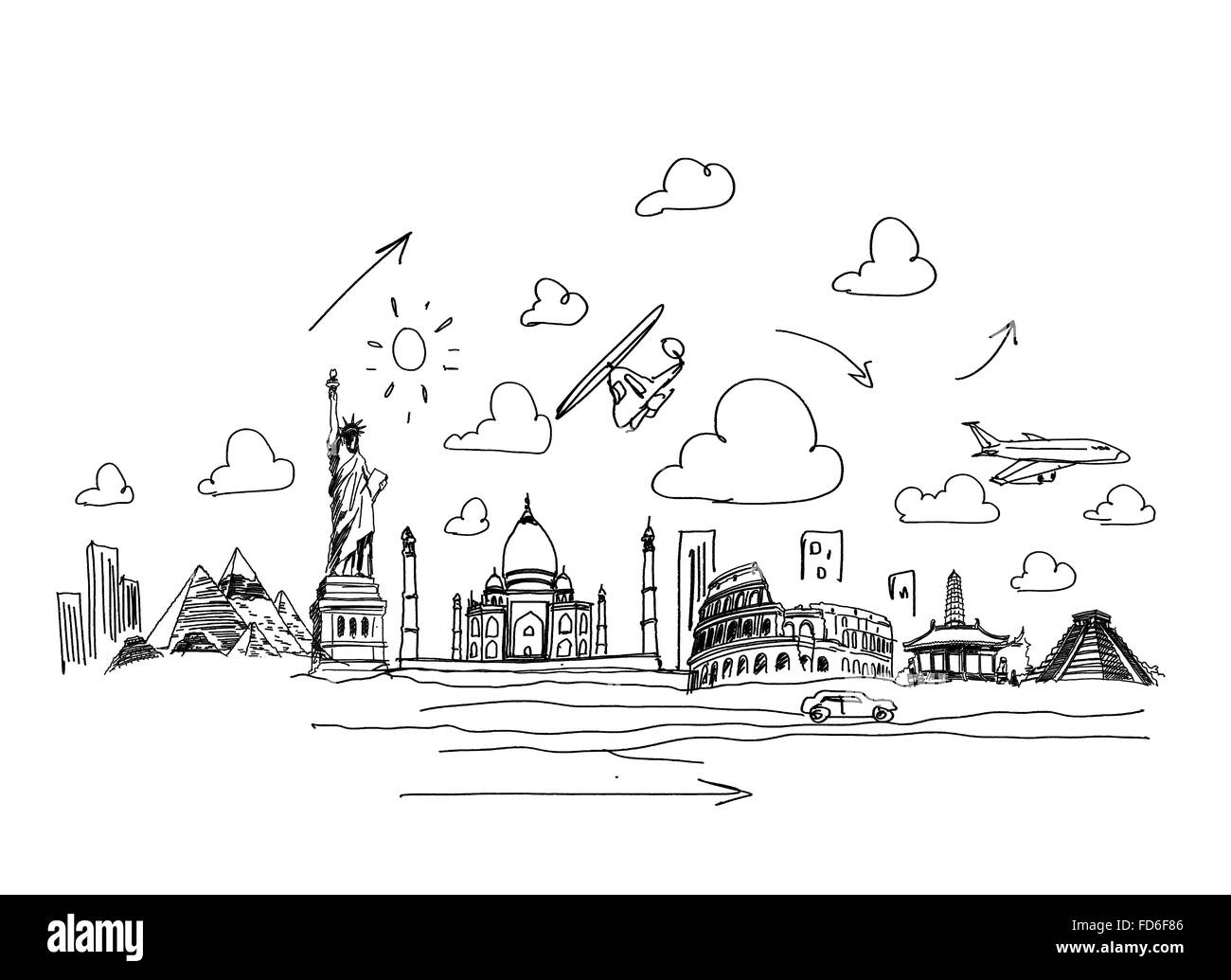 Background sketch image with drawings travel concept