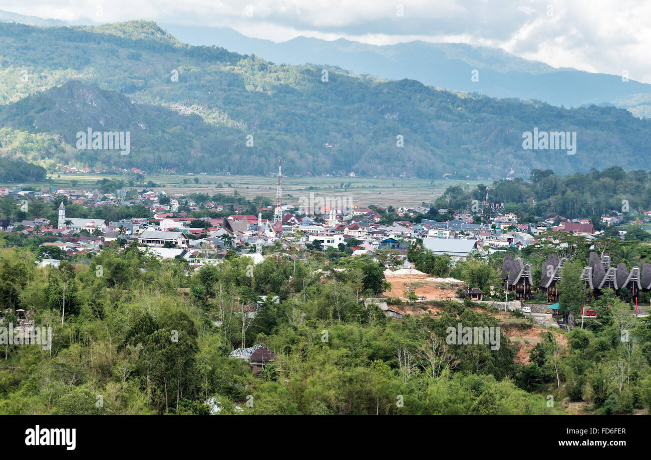 View of Rantepao in Tana Toraja, Sulawesi. Indonesia - Stock Image